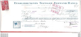 Mandat Pub  Ill  Toile Araignée Textile Fernand HANUS Bvd Britannique à GAND GENT  1938  +  Timbre Fiscal - Fiscaux