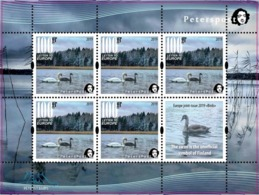 Finland. Peterspost. Europa 2019, Birds, Swan. Sheetlet With 5 Stamps And 1 Label Mint, Face Value Price! - 2019