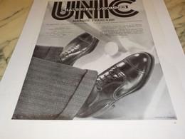 ANCIENNE PUBLICITE CHAUSSURE HOMME  UNIC 1932 - Vintage Clothes & Linen