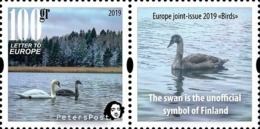 Finland. Peterspost. Europa 2019, Birds, Swan. Stamp With Label Mint - Swans