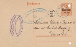 Solre-sur-Sambre / Cachet Privé Sucrerie De Solre S/Sambre-censure Charleroi -trous De Classement - Guerre 14-18