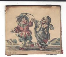 E. DELLA BELLA ( 1610 - 1664 ) Etienne - Stefano De La Belle : 2 Danseurs ( Homme Et Femme ) Couleurs Aquarelle - Estampas & Grabados
