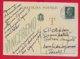 CARTOLINA POSTALE VG ITALIA - 1942 IMPERIALE VINCEREMO 15 C.+15 C. U. CP 97 - 10 X 15 - 1940 DOLEGNA DEL COLLIO TASSATA - Stamped Stationery