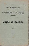 WW2 1943 - ETAT FRANÇAIS - BORDEAUX - CARTE D'IDENTITÉ - Documentos Históricos