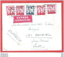 L Baudouin Lunettes   925 (4) 926 (1) Obl POIX ST HUBERT  Le  1 V  1954  Tarif International LO  En EXPRES - 1953-1972 Glasses