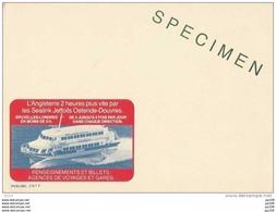 Publibel SPECIMEN - Sans Timbre - N°2787 F  - OSTENDE DOUVRES OOSTENDE DOVER - Enteros Postales