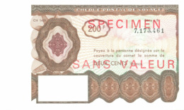 SPECIMEN Sans Valeur - Poste - Chèque Postal De Voyage - 200 F - Documents De La Poste