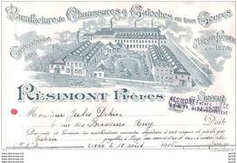 Ancienne Facture Illustrée CHAUSSURE RESIMONT Quai St Vincent 34-36 à LIEGE 10 VIII 1916 - Belgium