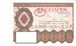 SPECIMEN Sans Valeur - Poste - Chèque Postal De Voyage - 100 F - Documents De La Poste