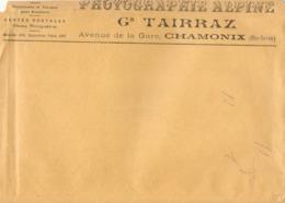 Rare Enveloppe De La Photographie Alpine Georges Tairraz à Chamonix, Vers 1910, Pour Envoi De Photographie - 1900 – 1949