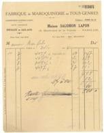 Facture Fabrique De Maroquinerie .., Maison Salomon Lapon, Paris 19e, Spécialité De Sacs-Auto - 1900 – 1949