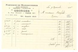 """2 Factures  Fabrique De Maroquinerie """" Georges """", Rue Morand, Paris 11e ( Adressée à Mr Bos, Fils, Nîmes ) - 1900 – 1949"""