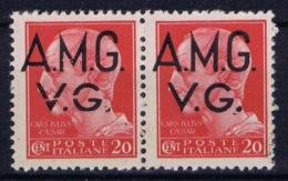 Italy: AMG-VG Sa 3 Broken G In VG MH/* Flz/ Charniere  Pair 1x Brioken 1 X Normal - Ongebruikt
