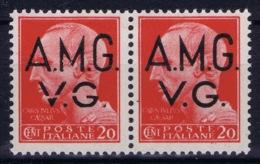 Italy: AMG-VG Sa 4 Broken G In VG MH/* Flz/ Charniere  Pair 1x Brioken 1 X Normal - Ongebruikt