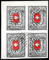 SWITZERLAND-Geneve. Dreaming Block Of Four, Corner Sheet. Naive Forgery... Scott 2L7 (x4) $15000.00. FALSOS. FAKES. FORG - Schweiz