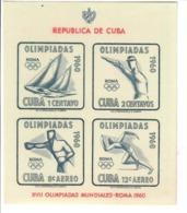 CUBA 1960 - GIOCHI OLIMPICI DI ROMA - SPORT  - FOGLIETTO  -    MNH** - Cuba