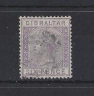 """GIBREALTAR...QUEEN VICTORIA..(1837-01)....."""" 1886."""".......6d.....SG13...(CAT £140.)...VFU.... - Gibraltar"""