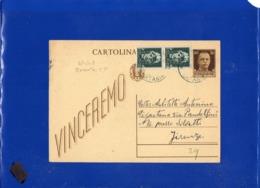 ##(DAN1910)-3-1-1945-Cartolina Postale Vinceremo Cent 30 Da Bronte (Catania), Per Firenze - 5. 1944-46 Luogotenenza & Umberto II