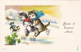 Mignonnette : Bonne Et Heureuse Année : Chats  Humanisés Patinant - Illustrateur T. GOUGEON - New Year