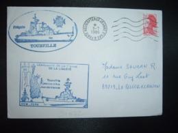 LETTRE TP LIBERTE 2,20 OBL.MEC.3-7 1986 PORTE HELICOPTERES JEANNE D'ARC + FREGATE TOURVILLE + Fusilier SAUBAN - Marcophilie (Lettres)