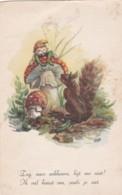 Illustrateur KOEN  - GNOMES -  LUTIN ACCROCHE A UN CHAMPIGNONS -  ECUREUIL - (lot Pat 85) - Künstlerkarten