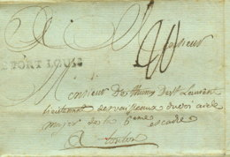 1788 DE PORT LOUIS (Kol.) Bf M. Inh U. 20 Sous Taxe N. Toulous - Marcophilie (Lettres)