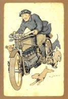 Moto Laurin & Klément 1905 - Illustrateur K. John - Chiens - Claude Reynaud, Domazan - Motorfietsen