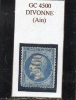 Ain - N° 22 Obl GC 4500 Divonne - 1862 Napoléon III