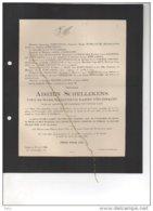Schellekens Veuf Lamme D'Huisnacht Juge Tribunal °Dendermonde 1877 + 21/8/1920 Gand Coppens D'Eeckenbrugge - Esquela