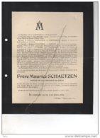 Frère Maurice De Schaetzen °Stevoort 1898 + Alken 12/1/1918 Novice Compagnie Jésus Conseiller Provincial Corswarem Roel - Esquela