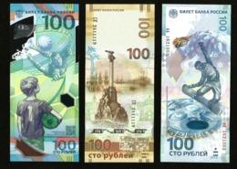 * Russia 100 Rubles ! 2014 Olympic - 2015 Crimea - 2018 FIFA ! Set 3 Bil ! UNC ! #D8 - Russie