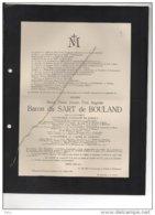 Messire Baron Du Sart De Boulard Gouverneur Hainaut Mutuels Commandeur Leopold ° 1857 + 1915 Mostier Au Bois D'Hulst - Esquela