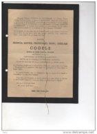 Messire Cogels Fran Lieutenant Herenthout Dorking 1914+12/9/1944 Pour Roi Et Patrie Guerre De BRowne De Robiano Osy WOII - Esquela