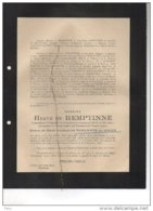 Messire De Hemptinne Lieutenant 1reg Grenadiers WOII Roelants Du Vivier °Gand 1908 +Gestapo Prisonnier Ladelund 6/12/44 - Esquela
