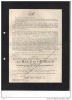 Messire Van Male De Ghorain Ghellinck D'Elseghem Vaernewyck Officier Reserve °1908 + 18/51940 Champ Honneur Guerre WOII - Esquela