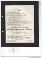 Raoul Comte D'Aspremont Lynden Bourgmestre Barvaux Condroz 1914-18 5 Lanciers Lieutenant °1879 + 1961 Mozet Namèche Zuyl - Esquela