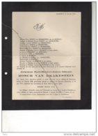 Jonkheer Bosch Van Drakenstein °château Heeckeren Goor 1862 + De Terwaart Hoesselt 23/6/1915 Schalkhoven De Borman Dagob - Esquela