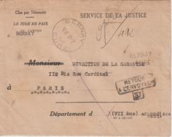 Lettre En Franchise 1945 De Bernay (27) Pour Paris Et Retour à L'envoyeur - 1921-1960: Moderne