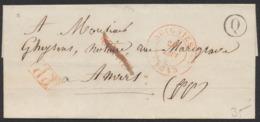 """Précurseur - LSC En P.P. + Cachet Dateur Soignies 26/8/1843 Et Boite Rurale """"Q""""(Mignault) Vers Anvers. Port """"4"""" Au Verso - 1830-1849 (Unabhängiges Belgien)"""
