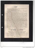 De Lalieux De La Rocq Sous Lieutenant 2reg Ligne °verviers 1894 + Calais 14/9/1917 Mort Pour La Patrie Guerre 1914-18 - Esquela