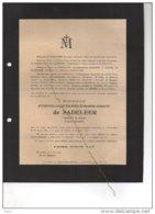 Etienne De Sadeleer Sergent Interprète °1889 + 26/3/1918 Mort Pour La Patrie Etterbeek Haaltert Ministre Etat De Streel - Esquela
