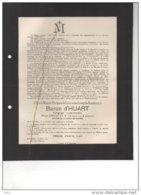 Baron D'Huart Engagé Volontaire Officier 4 Chasseurs à Cheval °1896 + Mort Pour Patrie 14/6/1917 Namur Sovet Spoelberch - Esquela