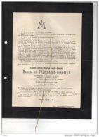 Charles Baron De Fierlant-dormer Lieuteant 1reg Guides ° 1882 + 22/2/1914 Noorschote Mort Pour La Patrie Hoogstade - Esquela