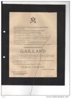 Et. Gaillard Engagé Volontaire Eclaireurs National Royaliste Etat Major Armée Belge +4/9/1944 18j Patoul Beeckmans WOII - Esquela
