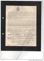 Baron Ernst De Bunswyck Veuf De Dieudonné De Corbeek-Over-Lo Korbeek-lo Bierbeek °1835 + 1921 Abdij Park Heverlee - Esquela