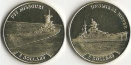 "Nauru. A Set Of Coins. 5 Dollars. 2017. UNS. Ships. The Ship ""Admiral Hipper"" And The Battleship ""Missouri"" - Nauru"