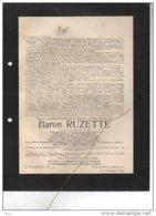 Baron Ruzette Vice Président Senaat Ministre Agriculture Et Travaux Publics Chambre Representant ° 1866 + 1929 Brugge Po - Esquela