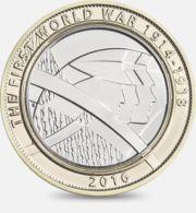 United Kingdom. Coin. 2 Pounds. World War I. Soldiers. Bimetal. 2016 - 1971-… : Decimale Munten