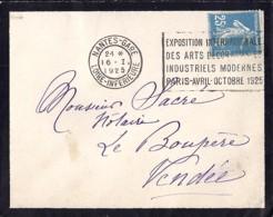 44 . LOIRE ATLANTIQUE . NANTES GARE . OBL. TYPE FLIER . 1924/25  NAN614 - Marcophilie (Lettres)