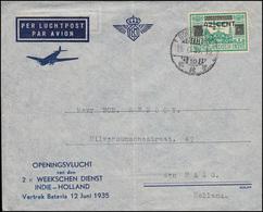 KLM-Eröffungsflug NL-Indien - NL 2mal Wöchentlich Batavia SOERABAJA 18.6.35 - Luftpost